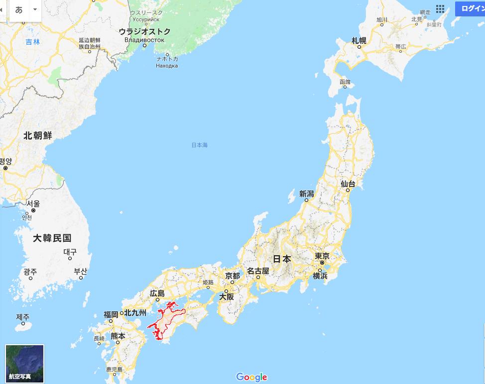 日本地図上の愛媛県の位置