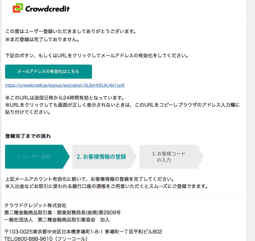 クラウドクレジットからのユーザー登録完了用のメール画面