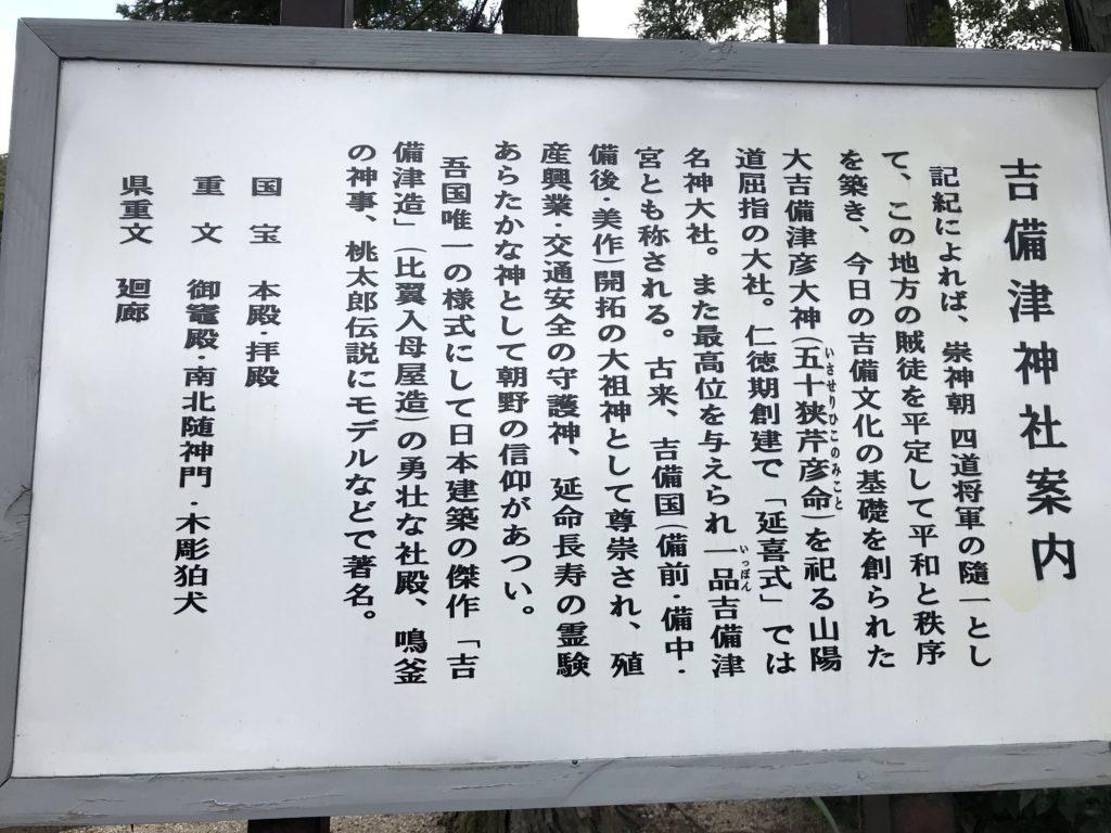 吉備津神社の案内の看板