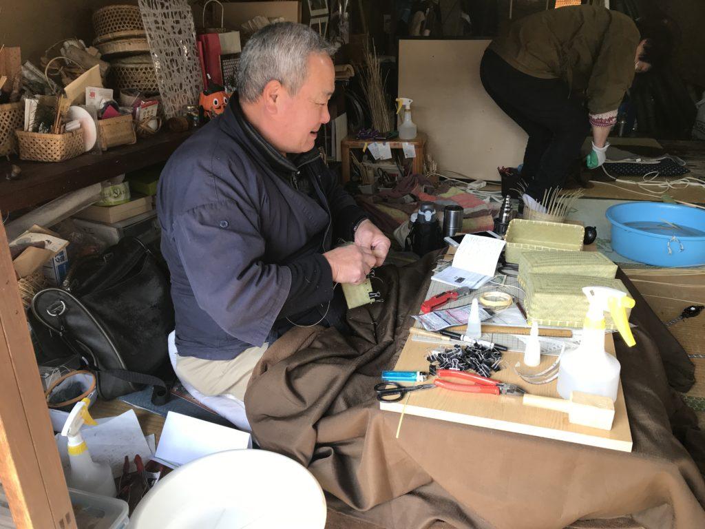 内子町護国地区の竹細工店【武工房】の店主の一人、「武智壽夫」さん
