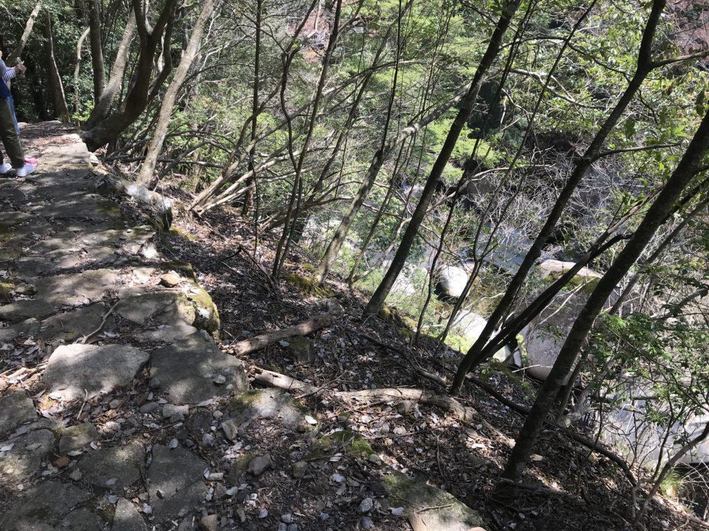 【滑床渓谷】の探勝歩道の崖に面した箇所の様子