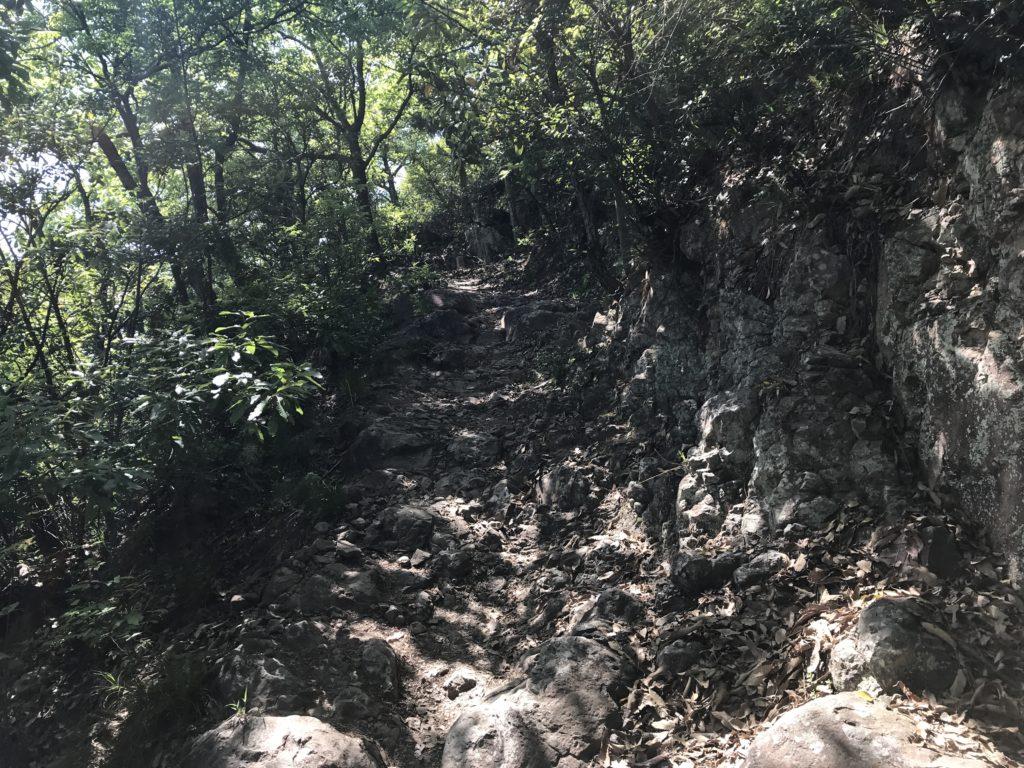 高屋神社【天空の鳥居】への岩がゴツゴツした歩道