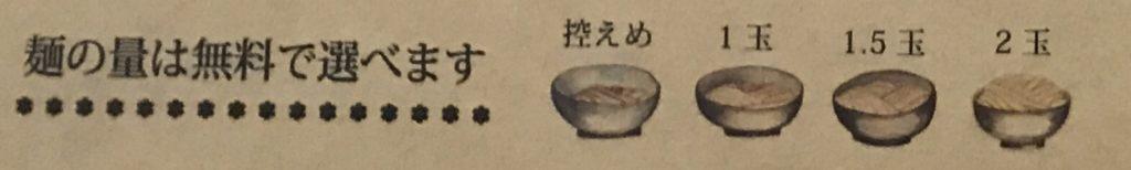 『うどんおよべ』のメニューに載っている「麺の量は無料で選べます」の表示