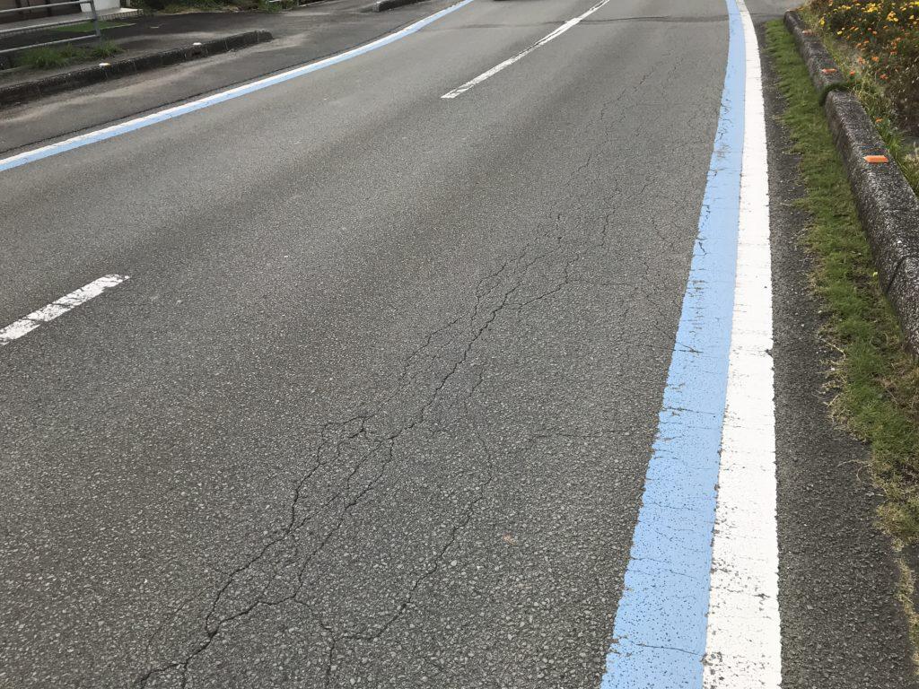 道路に描かれたサイクリングロードを示す青い線