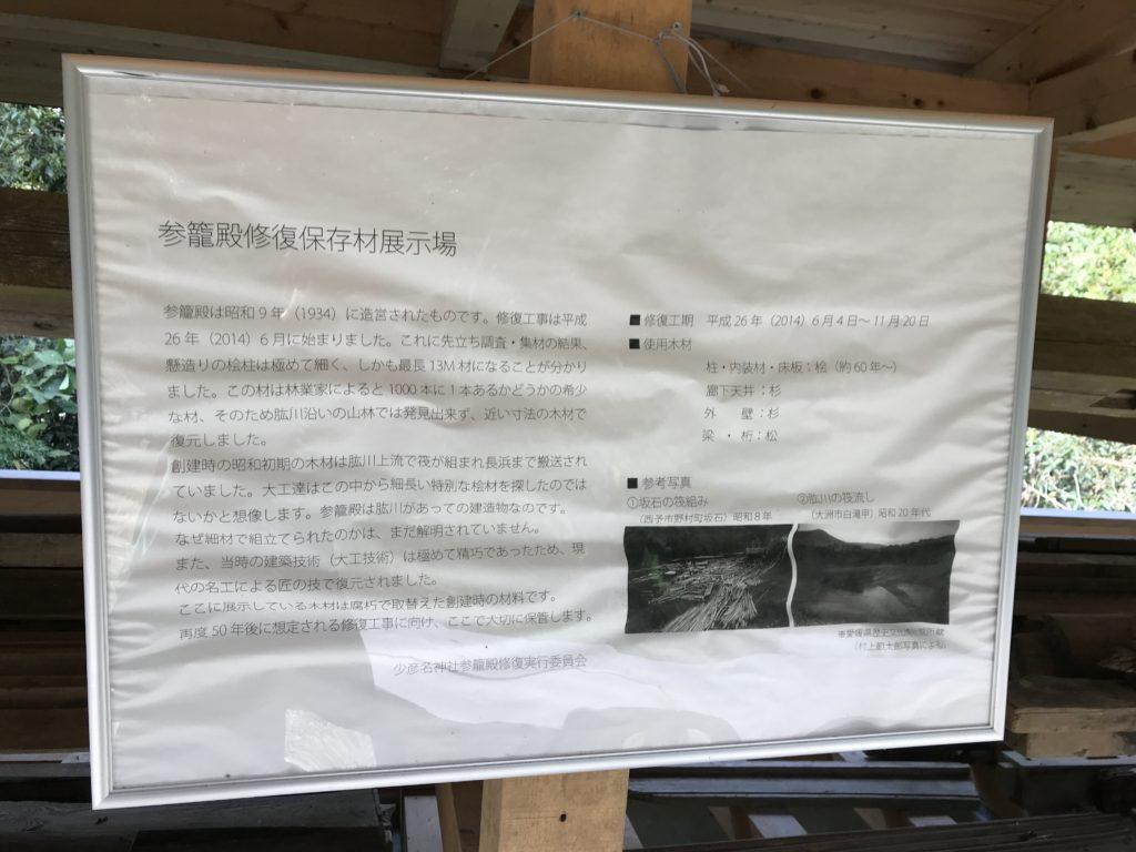 『少彦名神社参籠殿』の修復保存材展示場所の説明書
