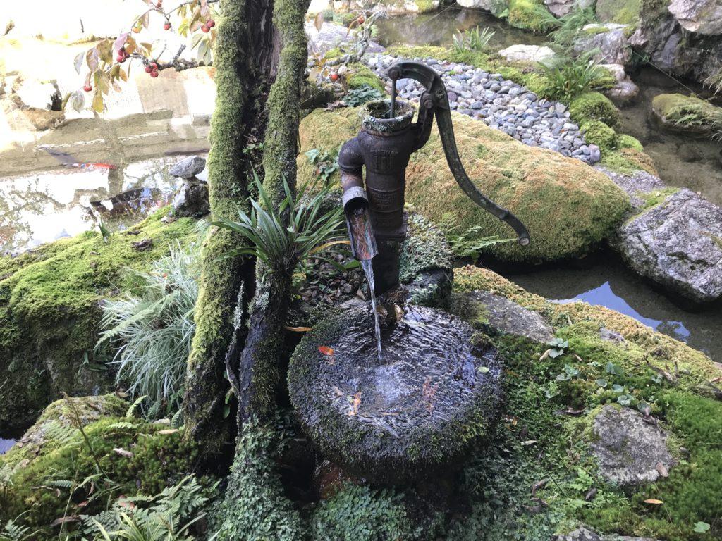 『こけむしろ』の苔庭の隣へ続く庭にある手押しポンプのオブジェ